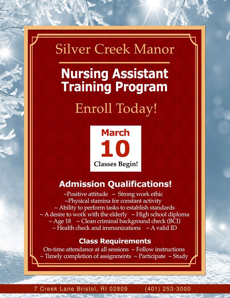 Nursing home training classes. Enroll now!